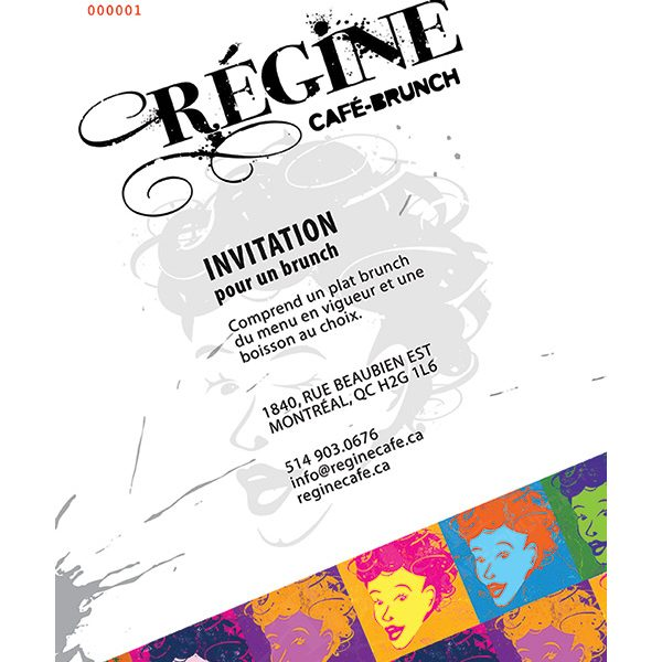 Top Carte d'invitation à imprimer - Régine Café BX25